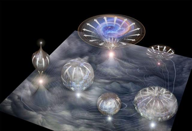 전체 우주에서 곳곳에서 여러 우주가 태어나고 있는 상상도. 린데의 혼돈 인플레이션은 다중우주를 예측한다. - NGP, Moonrunner design 제공